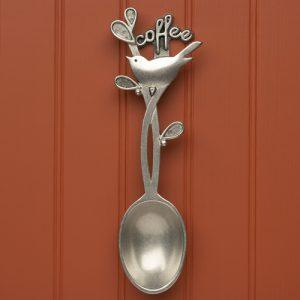 Decorative pewter bird design hanging scoop