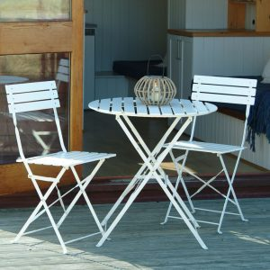 White table and chair garden furniture set