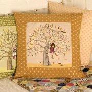 Autumn belle and boo textile cushion