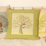 Illustrator Mandy Sutcliffe spring belle and boo cushion
