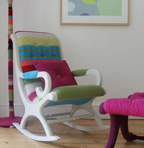 Restored vintage knitted rocking chair