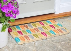 Vintage leaf design door mat