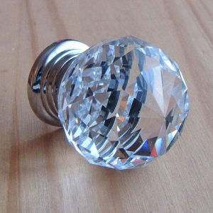 Clear cut crystal glass cupboard door knob