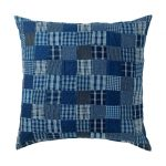 Indigo blue patchwork cushion reduced at Toast