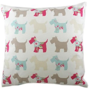 Colourful Scottie dog sofa cushion