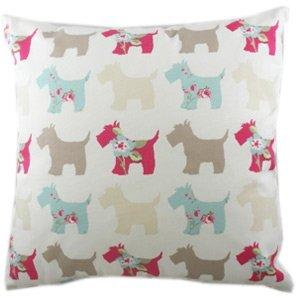 Colourful Scottie dog sofa cushion