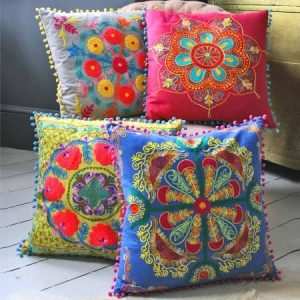 Blue square embroidered cushion