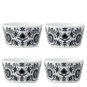 Set of four ania black and white folk style bowls