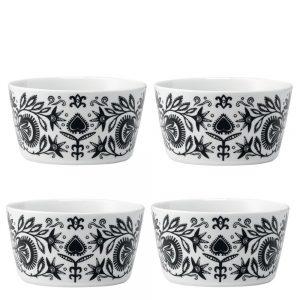 Set of four ania black and white folk style bowls