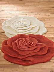 Designer rose wool rug