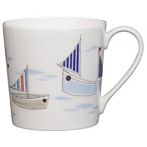 Beach boats china mug
