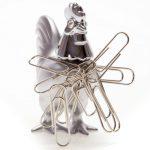Silver cockerel desk magnet