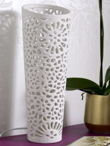 Cream ceramic cutwork lace light