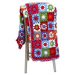 Multi coloured Granny square crochet blanket