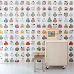 Robot wallpaper from Catkin Collection