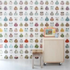 Friendly robot wallpaper decorating ideas