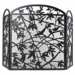 Bird design iron fireplace screen