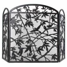 Bird design iron fireplace screen