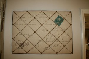 French postcard notice board