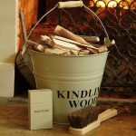 Kindling bucket and hearth accessories