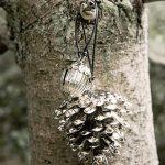 Silver metal pine cone decoration