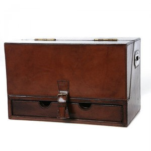 Traditional leather stationery storage box