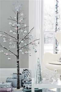 Silver and white Christmas decorations xmas