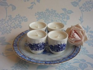 Vintage china egg cup candles