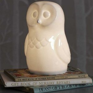 White bone china owl light
