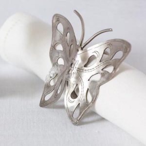Carved silver metal butterfly napkin ring