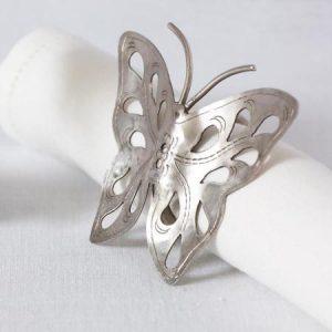 Carved silver metal napkin serviette rings