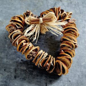 Winter scented heart wreath decoration