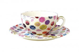 Buttons contemporary ceramic cup and saucer