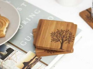 Tree motif bamboo coasters from Forages