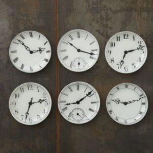 Set of six decorative clock plates