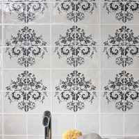 Navy and white dramatic damask wall tiles