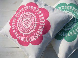 Handmade screen printed cushion