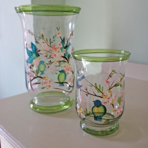 Bluebird and blossom glass vase from Berry Red