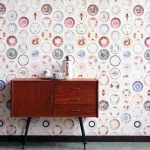 Porcelain plate wallpaper: Create a wall of hanging plates