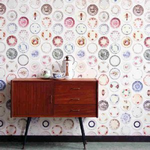 Porcelain china plates wallpaper design