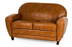 Jazz Club two seater art deco style leather sofa