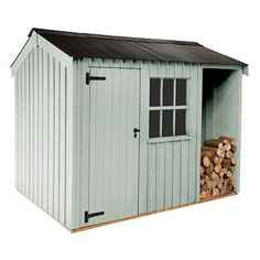 Traditional garden shed log store ideas