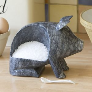 Marble pig salt kitchen storage