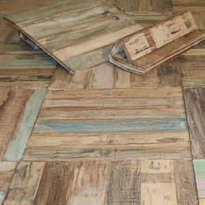 Reclaimed and recycled teak floor tiles