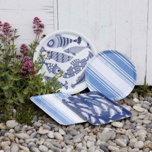 Blue and white British Scandinavian coastal design