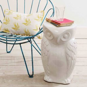 Giant white ceramic owl home accessories