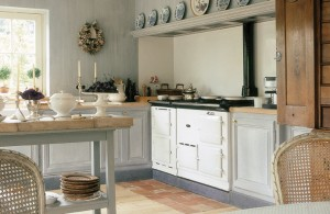 Country home kitchen aga cooker