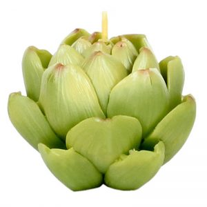Green artichoke shaped candle