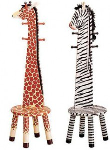 Coat rack stools in giraffe and zebra designs