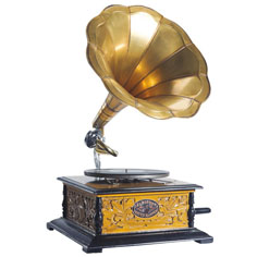 Traditional gramophone with horn